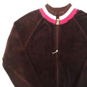 Juicy Couture Velour Zip-Up Jacket In Brown